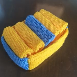 Set of 5 Knit Yellow and Blue Washcloths